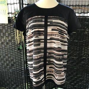 Narciso Rodriguez XL Black print SS blouse